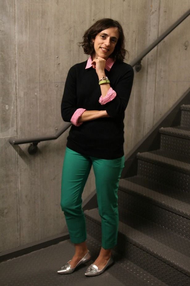 Green pants outfit with black sweater, leopard print shirt | My ...