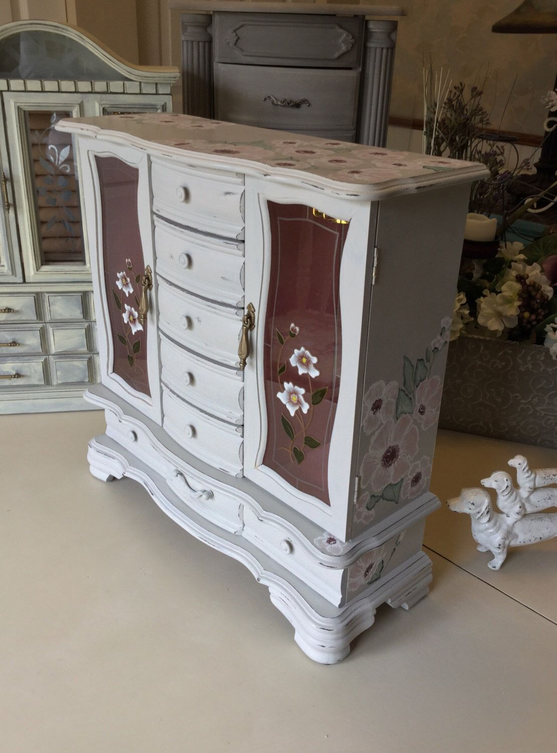 Wooden Jewelry Armoire Shabby Chic Jewelry Box Vintage