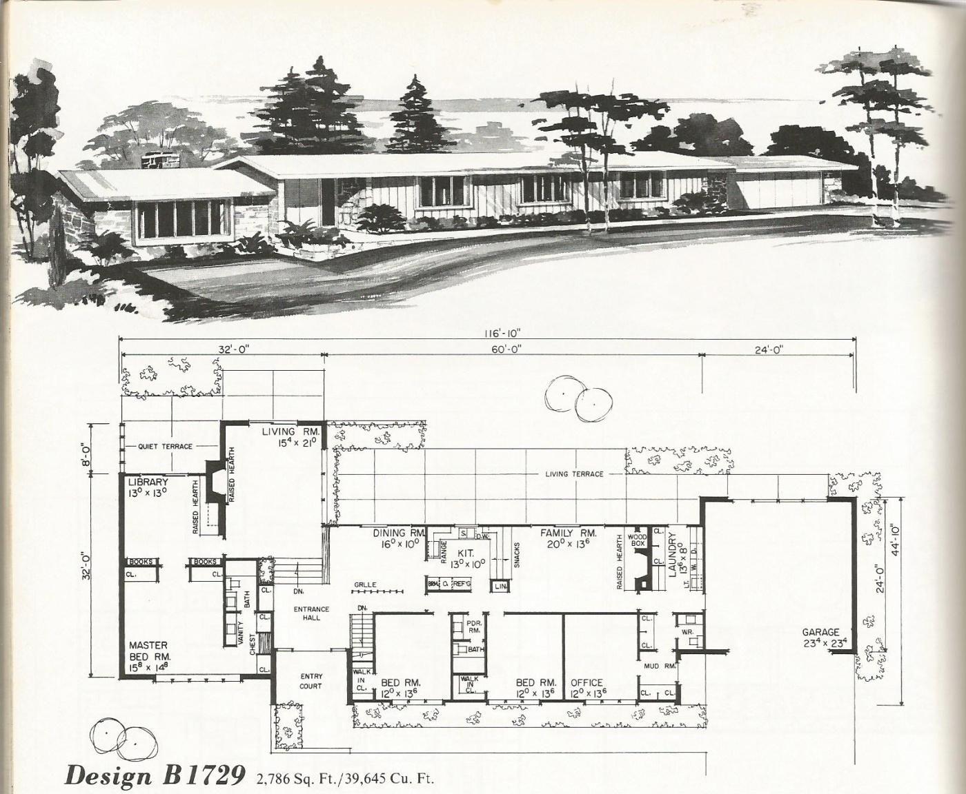 Enlarge Vintage House Plans Mid Century Modern House Plans Ranch House Plans