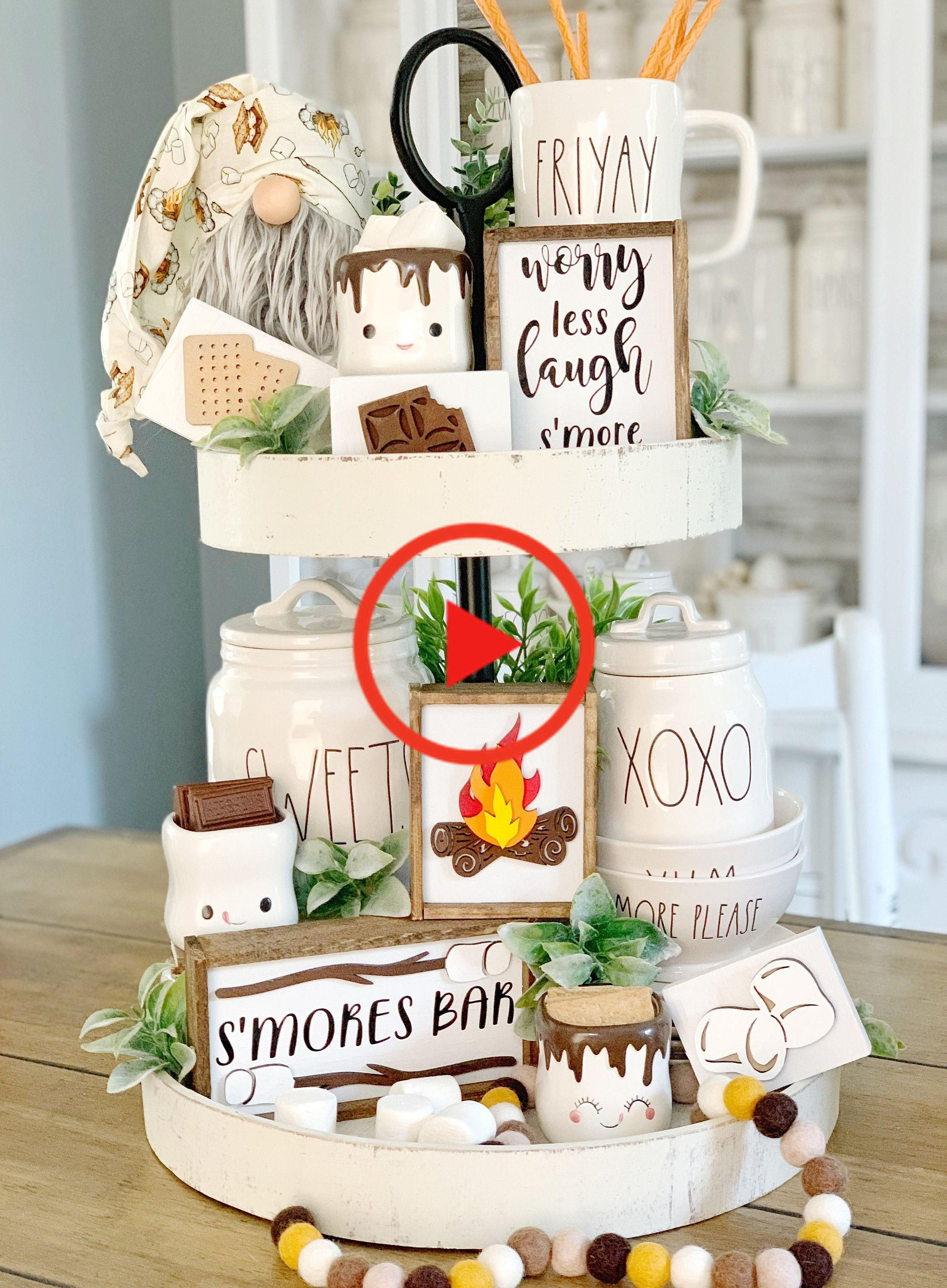 S'mores sign / campfire signs / 3D signs / s'mores bar / tiered tray signs / rae Dunn decor #homedecor