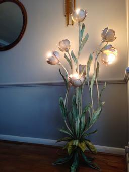Toleware Floor Lamp, 7 Pink Flower Lamps | 2018-19 TOLE LIGHT-TREND ...