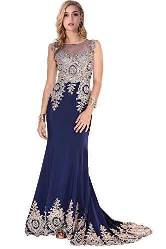 7cf4ae987ac Amazon.com  Babyonline Trumpet Long Evening Dress Lace beads Cap Sleeve  Party Prom gowns  Clothing