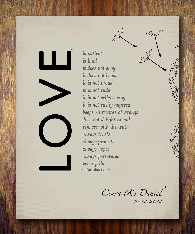 1st Wedding Paper Anniversary Gift Print 1 Corinthians 13 Love Is