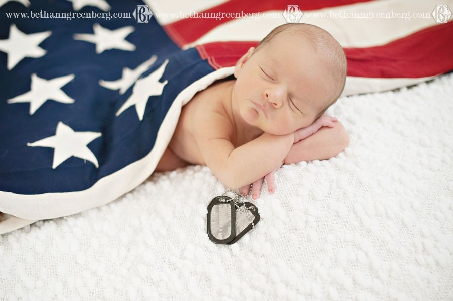 A very patriotic newborn session baby cameron 13 days old bethann greenberg photography american flag navy usa boy dogtags