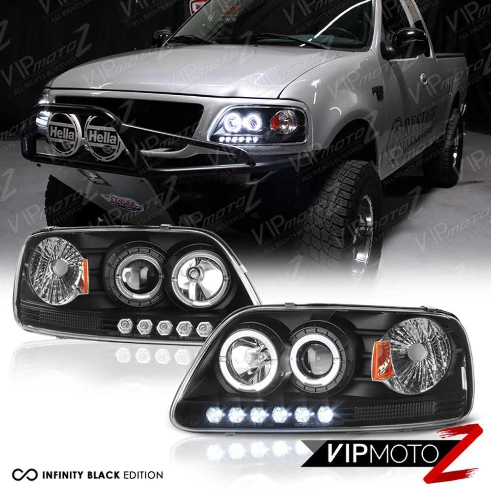 1997 2003 Ford F150 Lobo Black Halo Led Drl Projector Headlight 97