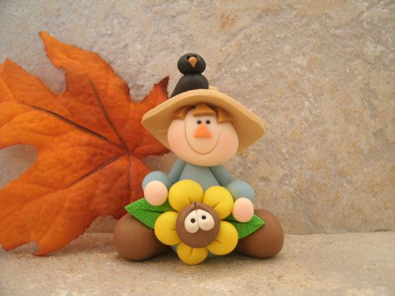*POLYMER CLAY ~ Scarecrow - Sunflower - and Crow