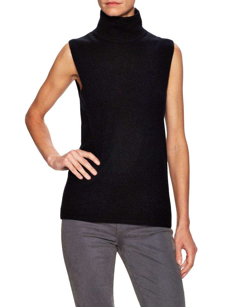0825132bce85f6 Sea Bleu Cashmere Sleeveless Turtleneck Sweater
