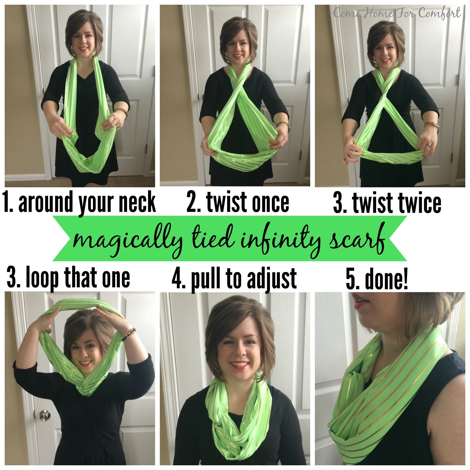 How To Tie A The Doublewrap Double Windsor Knot Wear Infinity Scarves Without All Bulk Outfit Ideas Bulkiness Via Comehomeforcomfortcom