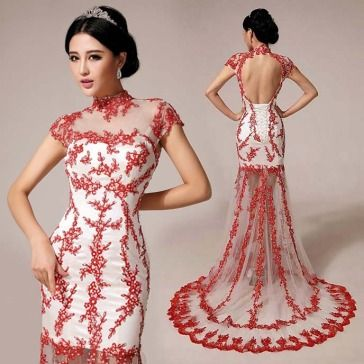 Cheongsam-inspired-cherry-blossom-floral-lace-embroidered-trailing ...