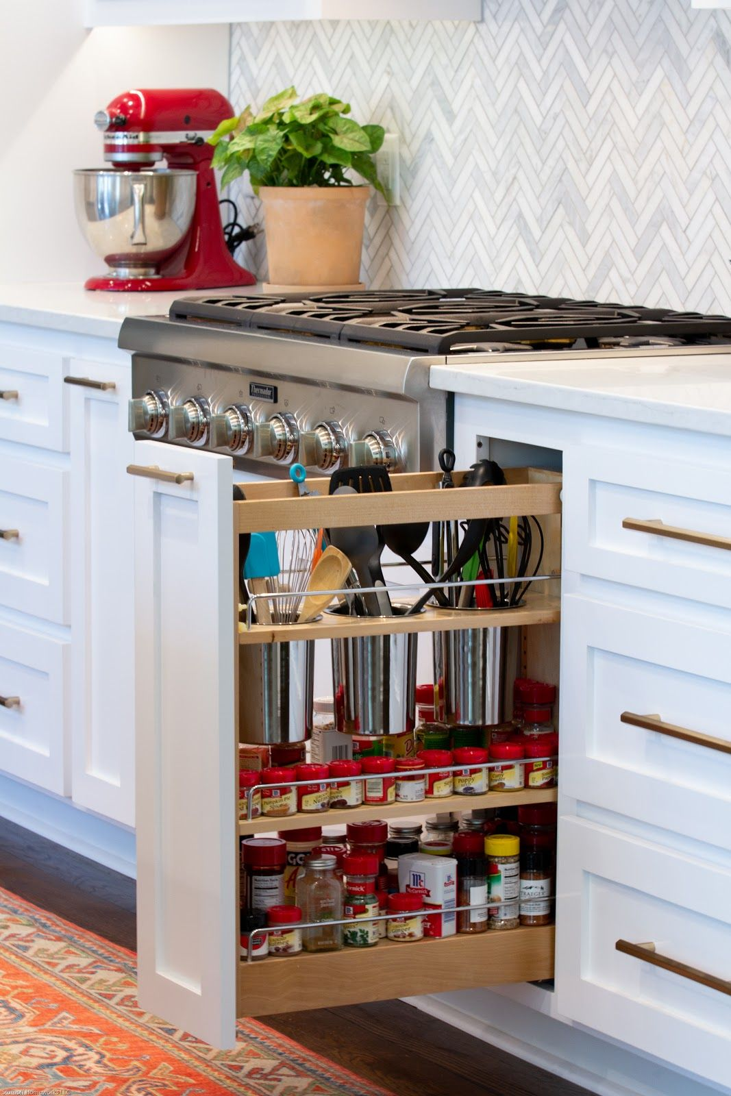 spice rack pull out with custom cutouts for utensils