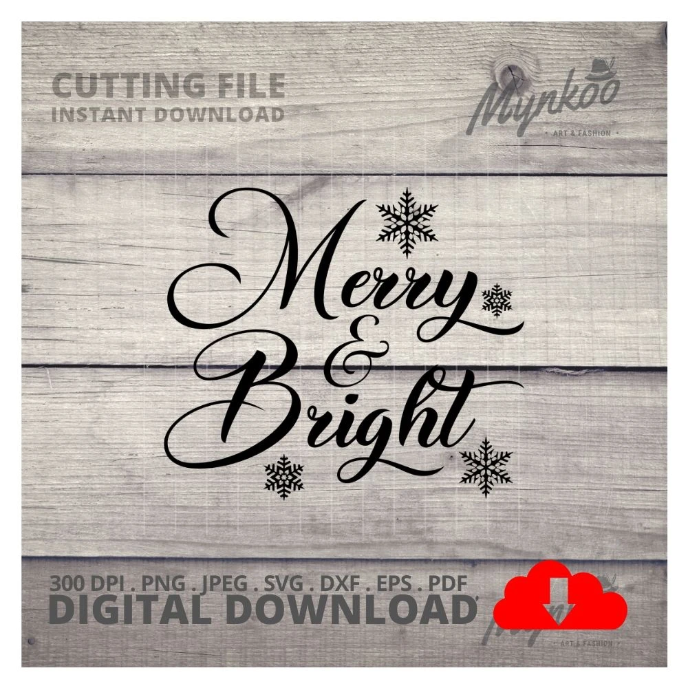 Merry and Bright Christmas SVG, PNG, JPEG, DXF, EPS, PDF