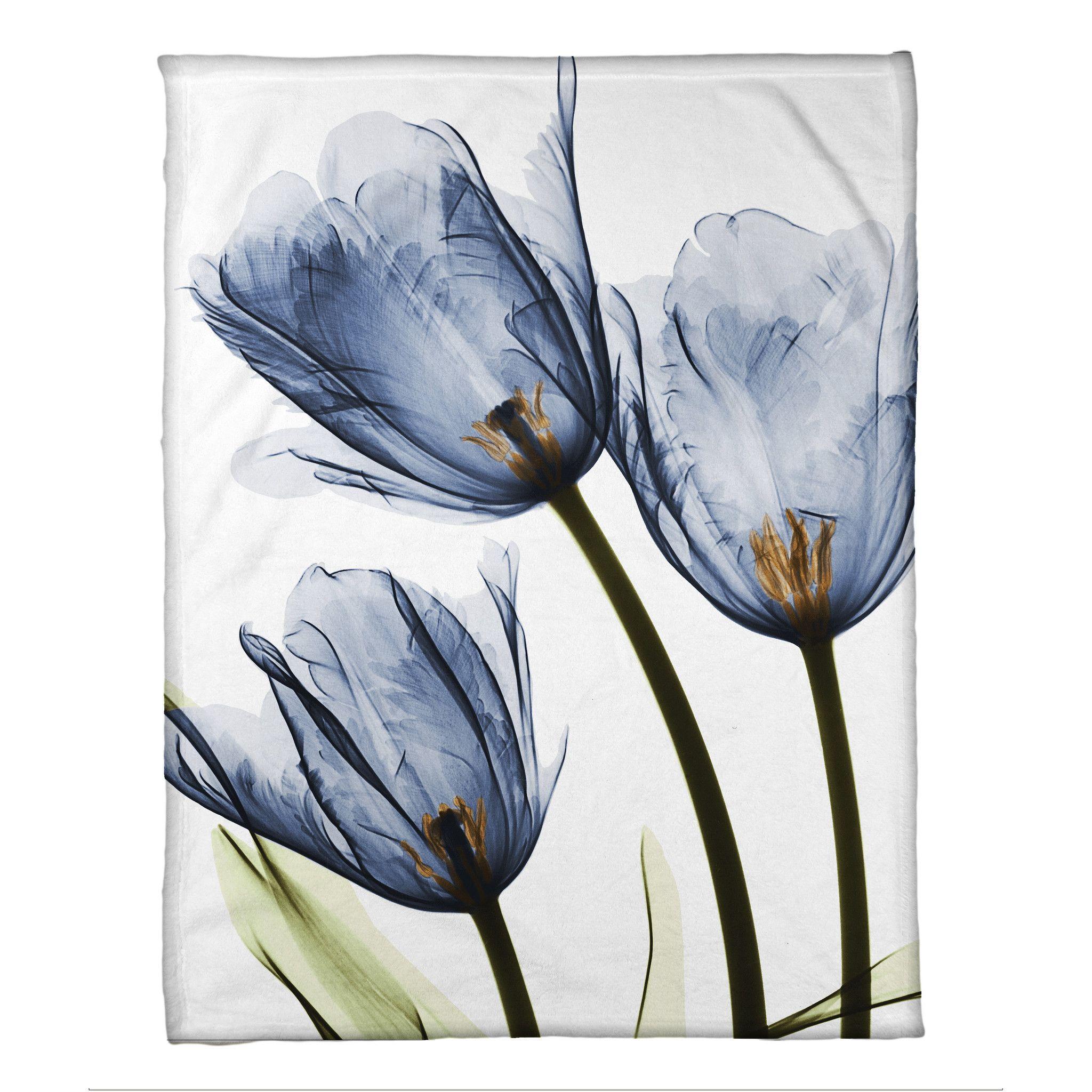 Blue Tulip Trio X-Ray Flowers Fleece Throw