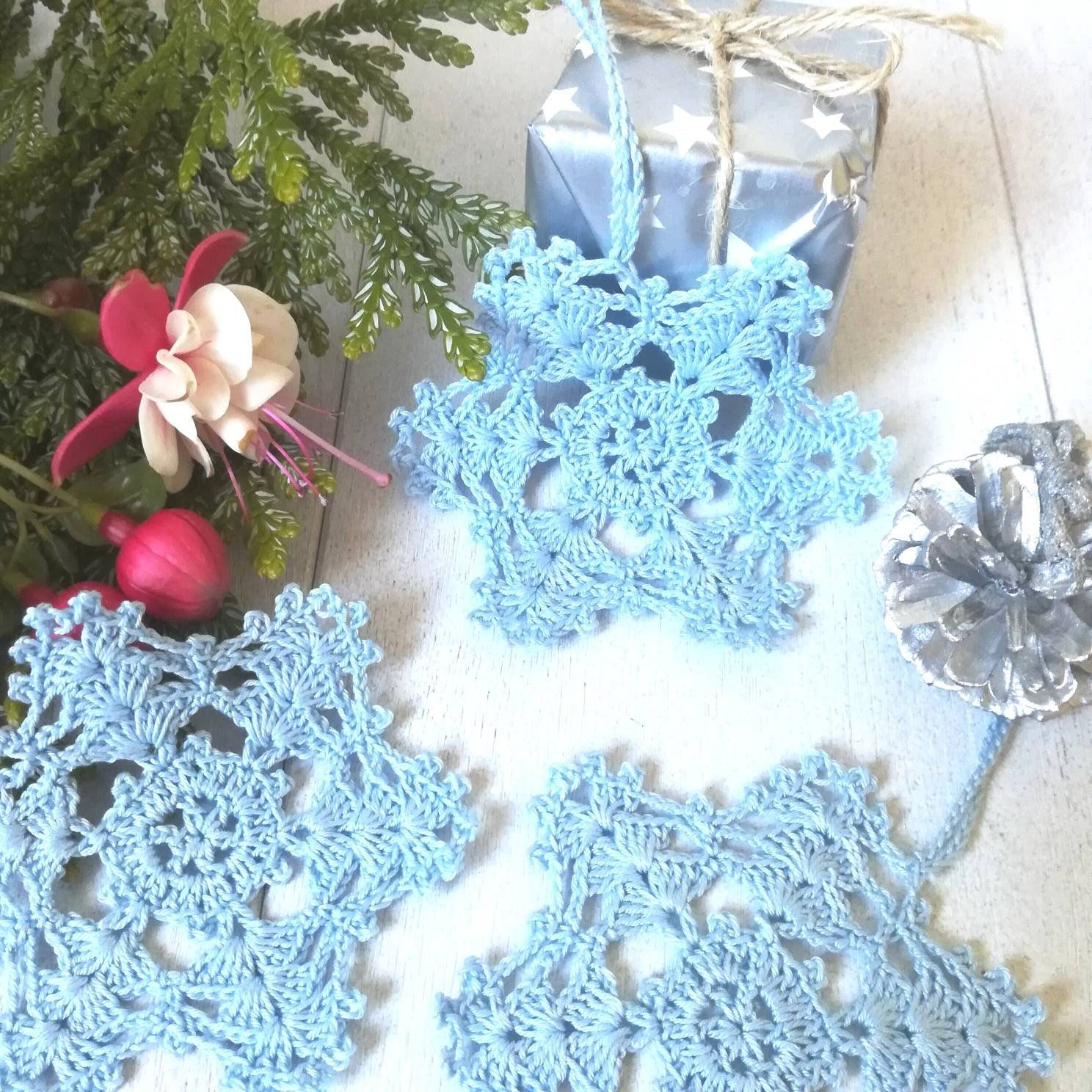 Crochet Blue Snowflakes, Christmas, Hanging Snowflakes, Christmas Ornaments, Gift For
