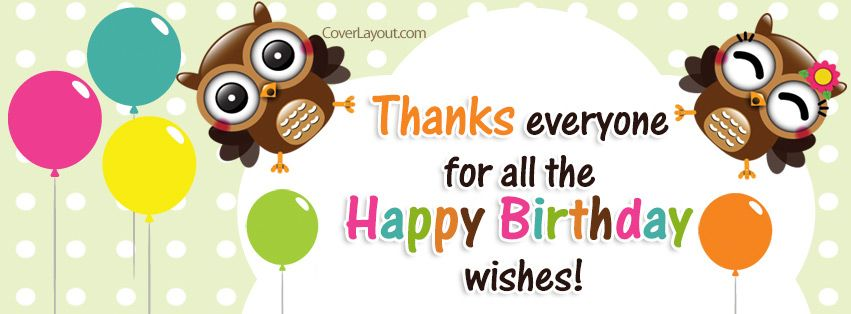 Thank you for the Happy Birthday Wishes Owls Facebook Cover – Thank You Greetings for Birthday Wishes
