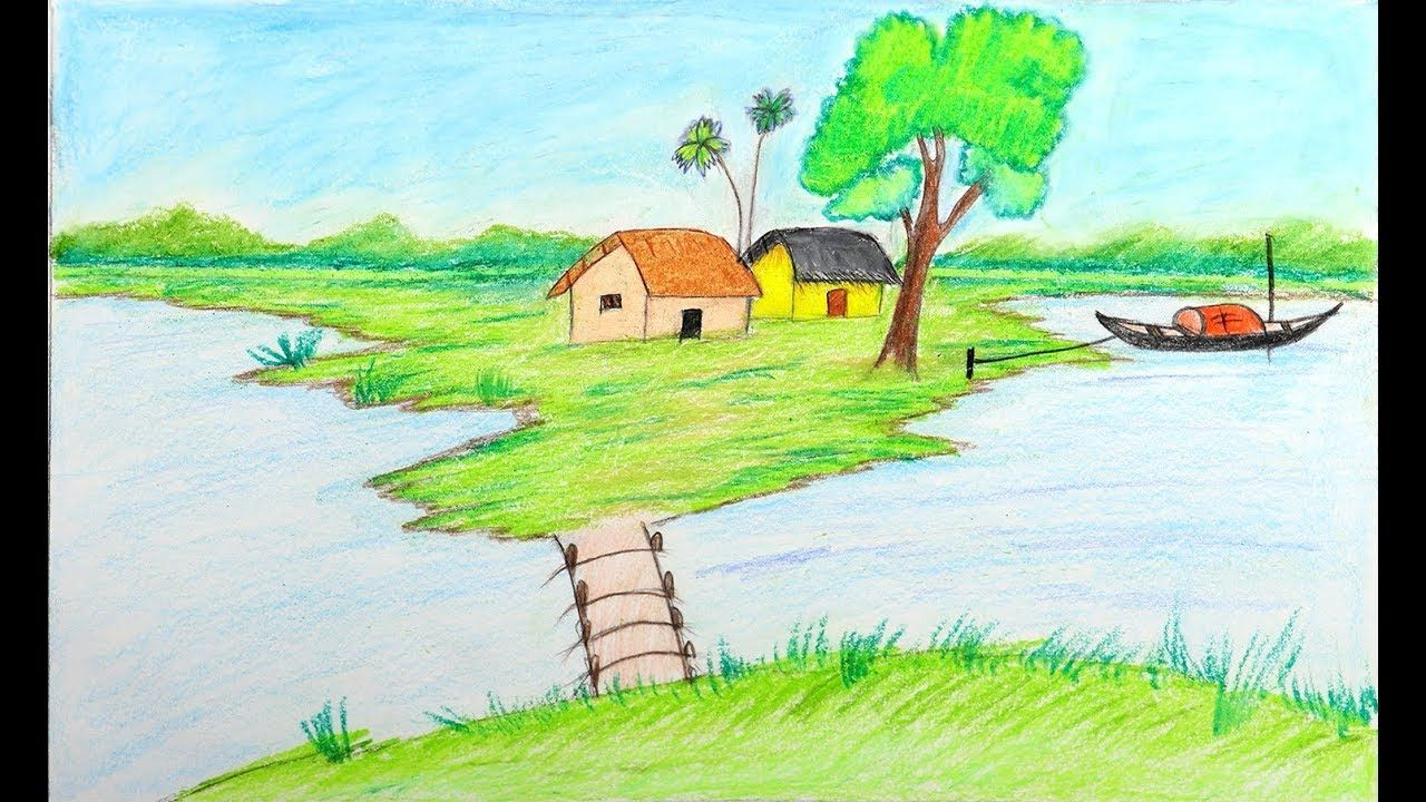 how to draw a landscape very easy landscape drawing tutorial how