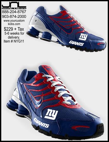Custom New York Giants Nike Turbo Shox