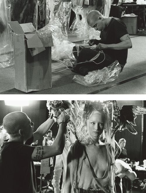 Lee Alexander McQueen backstage at his Spring/Summer 2001 collection entitled  'Voss'