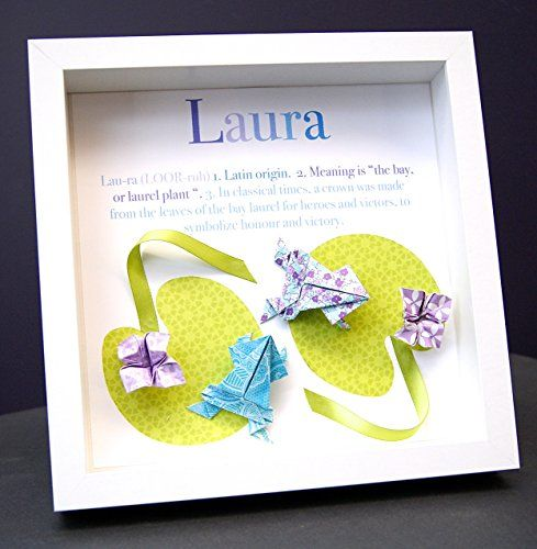 Personalized Name Origin And Meaning Paper Origami Shadowbox Frame With  Frogs Custom Art Newborn Baby Shower Nursery Gift