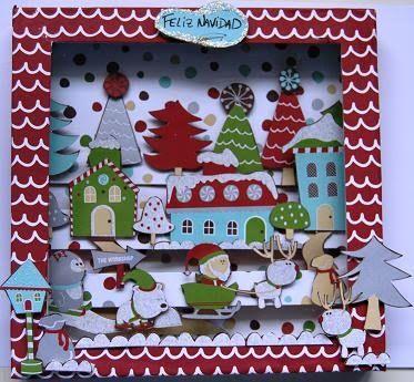 Cuadros faciles para navidad con carton tela y cintas for Cuadros de navidad