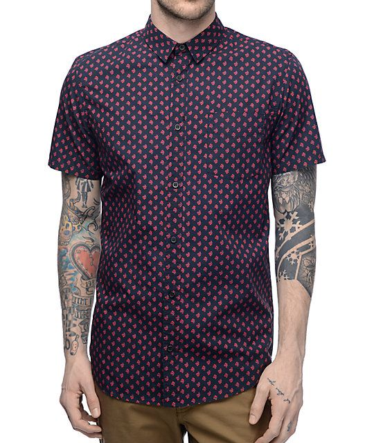 Globe Florette Black & Red Woven Button Up Shirt | Shirts, Up ...