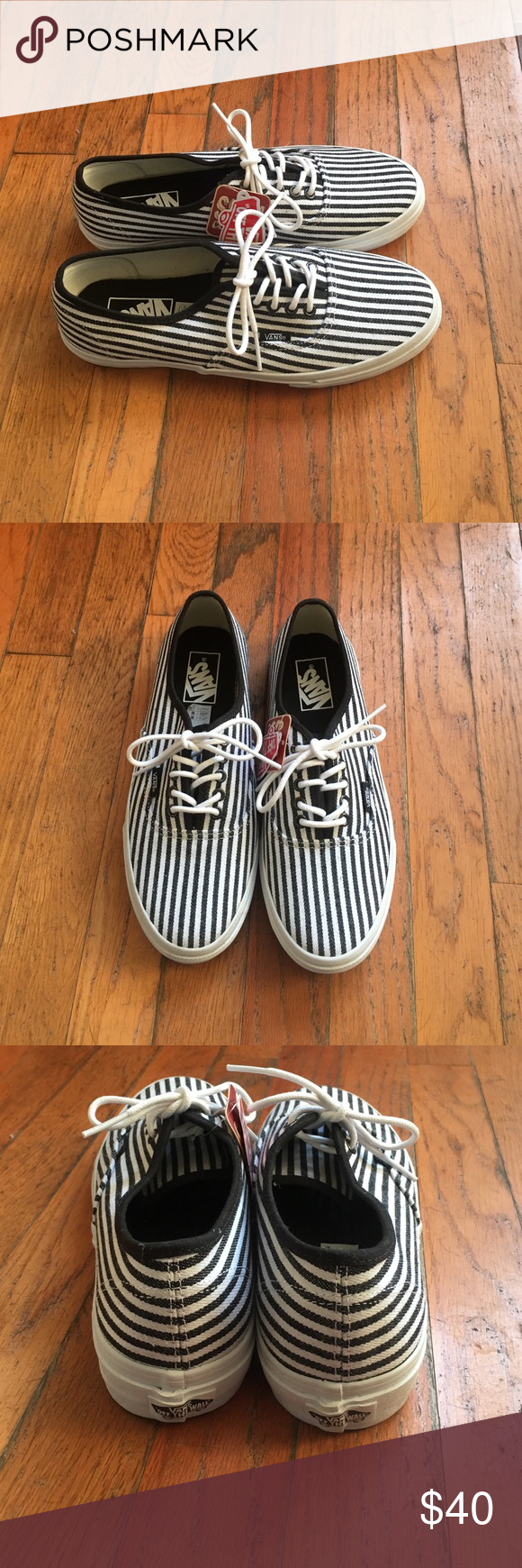 Vans Authentic Slim Stripes Vans Authentic Slim Hickory Stripes, Black and White, New in Box, Women's size 9, Men's size 7.5 Vans Shoes Sneakers