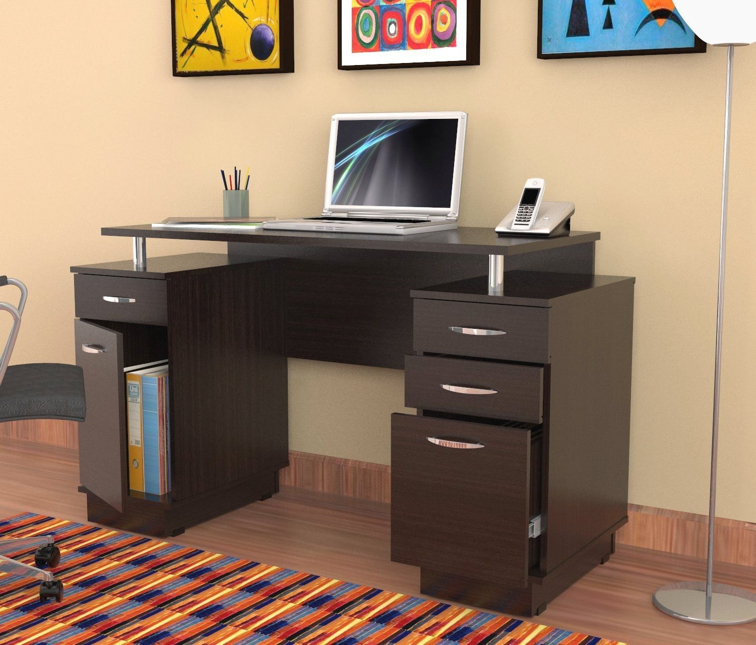 Office Desk With Locking File Cabinet