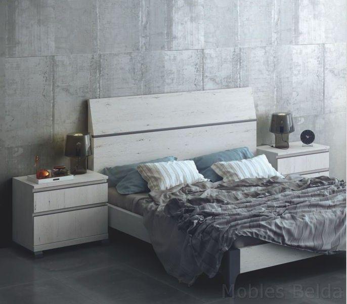 Dormitorio matrimonio cabezal 150 cm, acabado en fresno con detalles ...