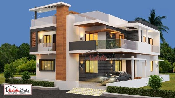 Double Storey Elevation Two Storey House Elevation 3d Front View House Styles House Elevation Kerala House Design