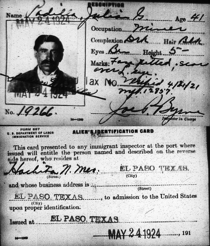 Padilla Document Border Crossing From El Paso Texas In 1924
