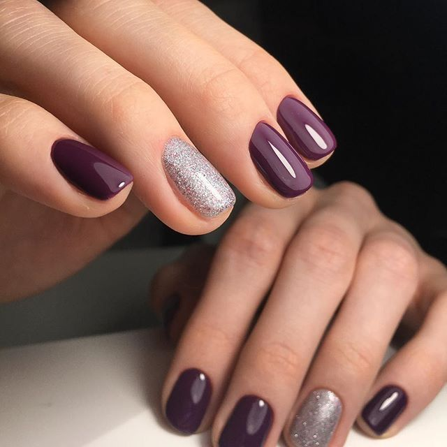Purple And Silver Gel Nail Designs Pinterest Make Up Mani