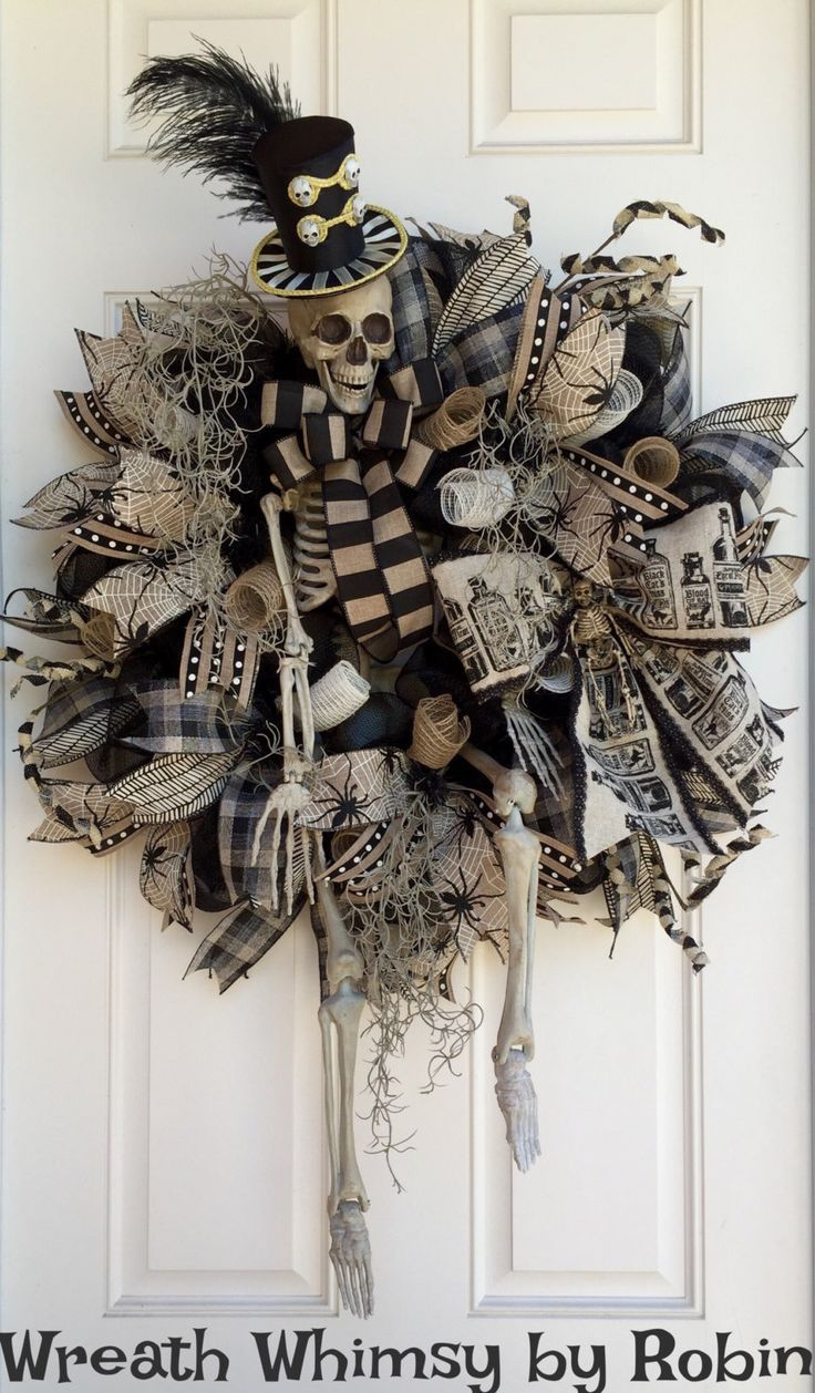 XL Halloween Skeleton Deco Mesh Wreath in Tan  Black, Front Door - Front Door Halloween Decorations