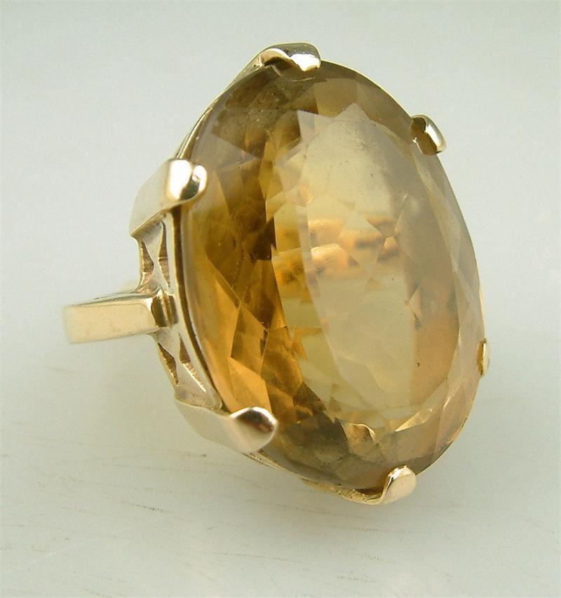 GEMSTONE 10K YELLOW GOLD ART DECO CITRINE VINTAGE RING FILIGREE ESTATE COCKTAIL