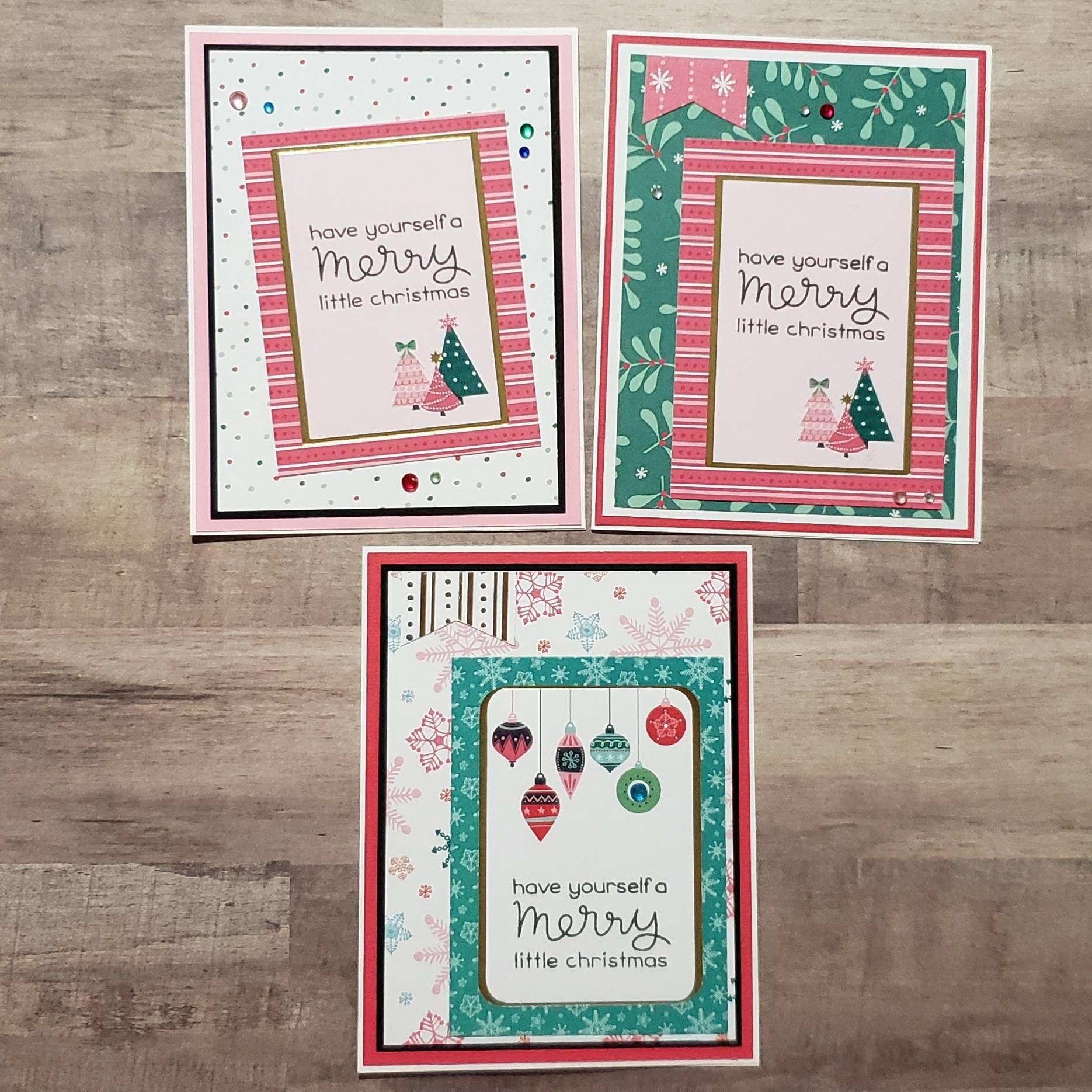 3 Homemade Christmas Cards Handcrafted Xmas Card Set Handmade