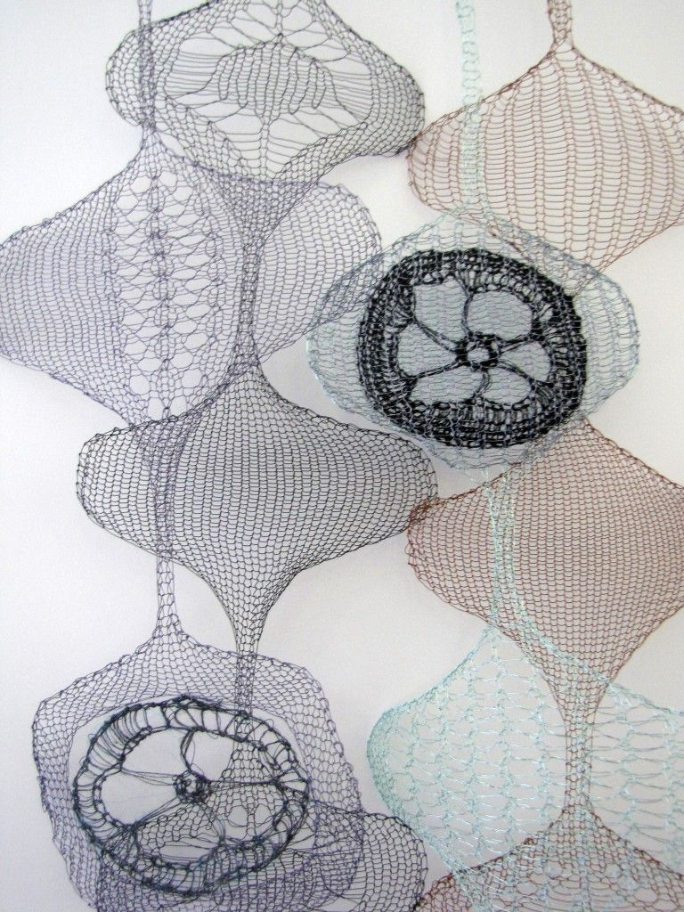 Esther Paleologos---Memory---Lace textiles: hand-operated domestic machine knitting and crochet using copper enamelled wire, electrical copper wire, stainless steel wool blend, lurex and metallic cotton.