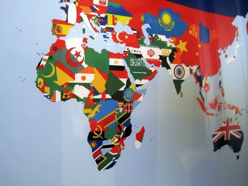 Creative world map design made with flags of each country 12x16 creative world map design made with flags of each country gumiabroncs Gallery