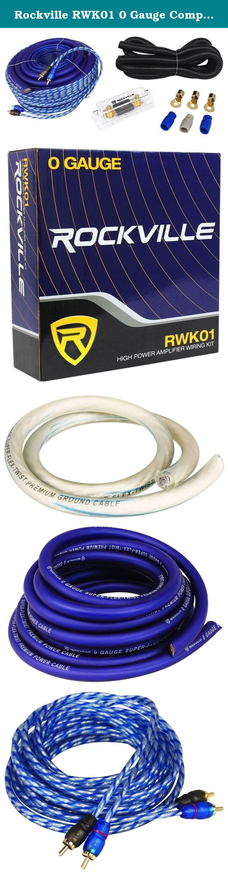 Rockville rwk01 0 gauge complete car amp wiring installation wire kit w rca s the