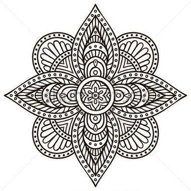 Mandala round ornament pattern vintage decorative elements hand drawn background islam - Pouf eigentijds ontwerp ...