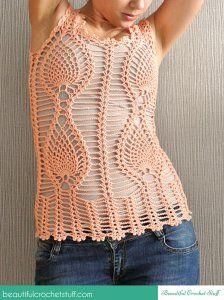 63ea54bc5f1 Pineapple Crochet Top ~ Jane Green - Beautiful Crochet Stuff   Pink ...