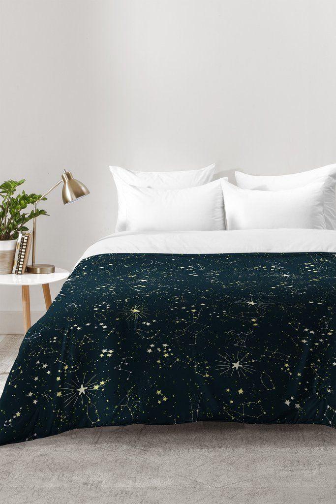 Constellations In Midnight Blue Comforter Joy Laforme Yatak odası