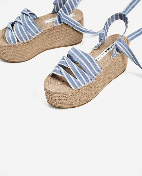 33403fa9e3f7 Image 6 of TIED JUTE PLATFORM WEDGES from Zara Flat Sandals