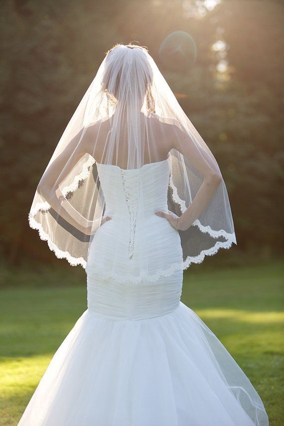 Photo of Veil: Single Tier Finger tip length with lace