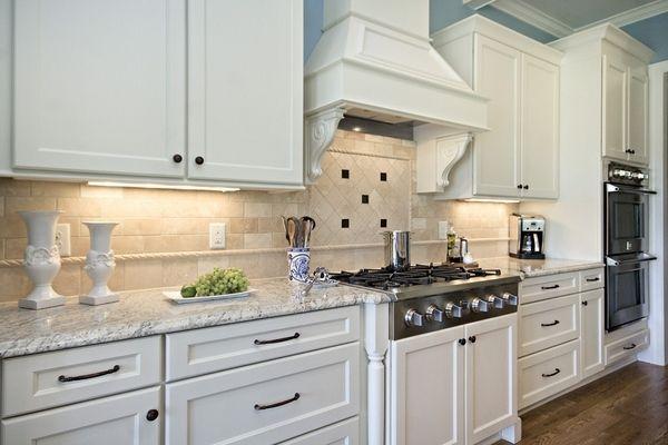 White Cabinets Bianco Romano Granite Countertop Tile