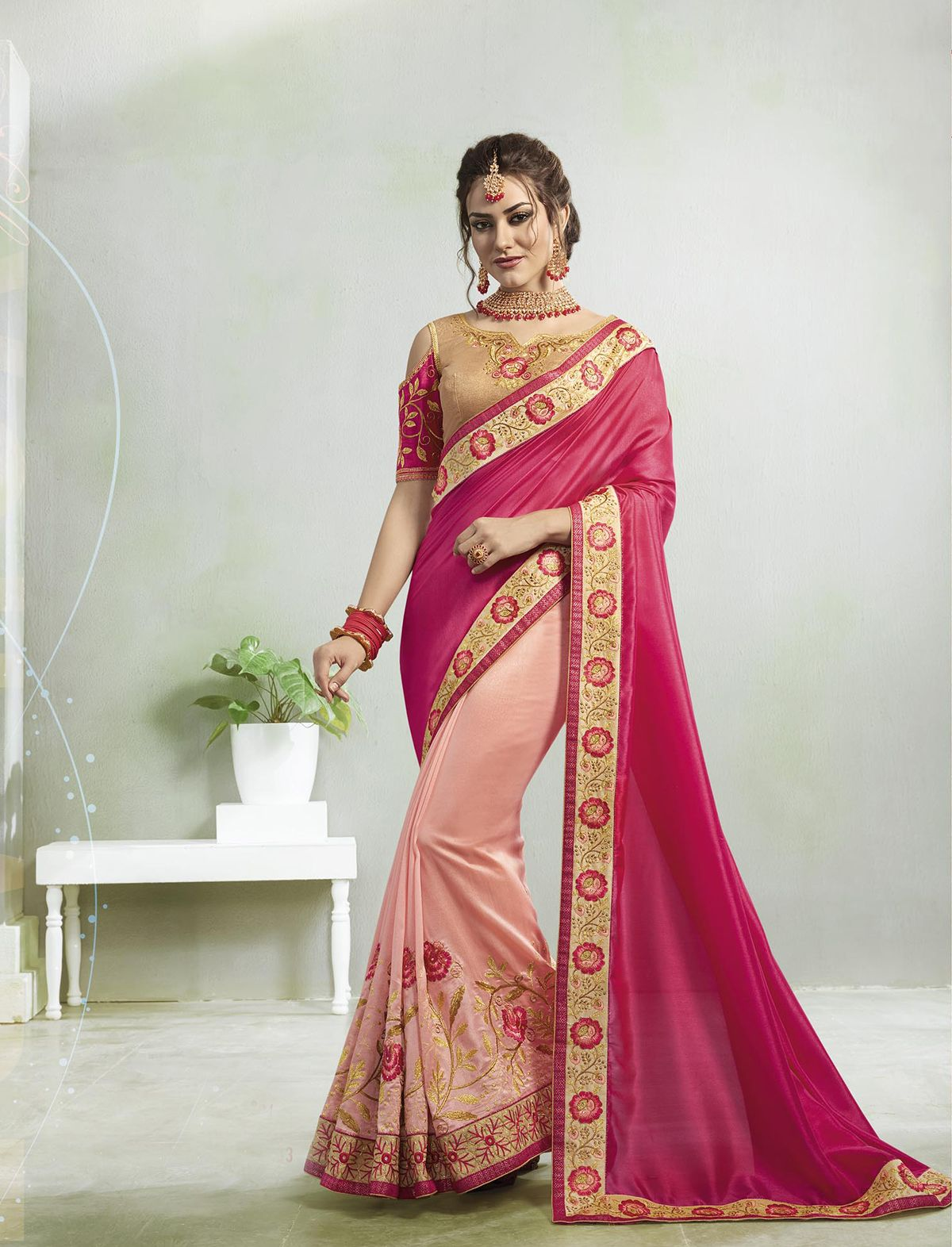 8035db5916 Experience the online shopping for indian traditional saree. Order this  fetching embroidered and zari work hot pink designer saree.
