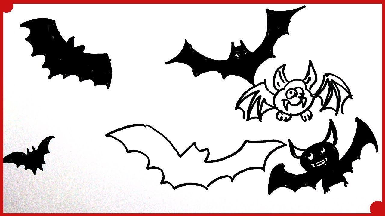 Como Dibujar Murcielagos De Halloween Para Ninos How To Draw A Hallowe Como Dibujar Un Murcielago Dibujos De Halloween Halloween Ninos