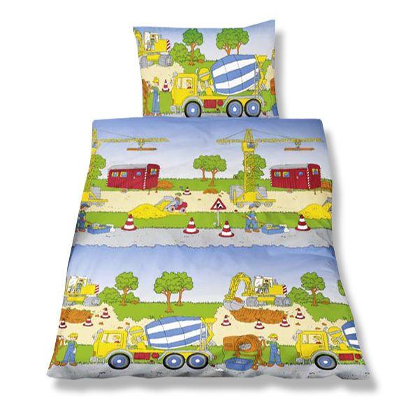 Bettwäsche 100 X 135 Cm Baumwolle Kinder Betonmischer Bagger