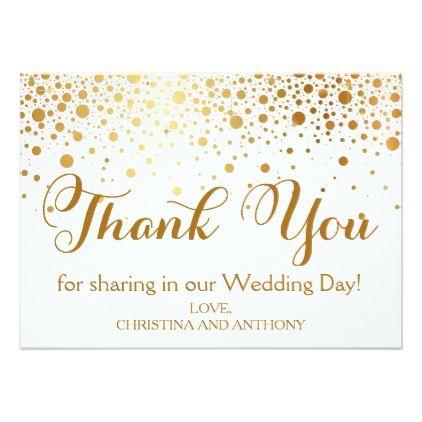 Confetti Gold Foil Wedding Thank You Note Card Confetti, Wedding