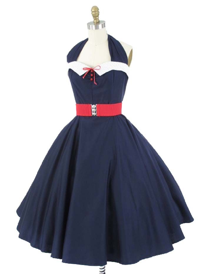 777f01cdea0 Classic Dame 50s style Navy Blue Swing Dress w Polka Dot Collar   50sStyleDresses  SwingDresses  HalterDresses