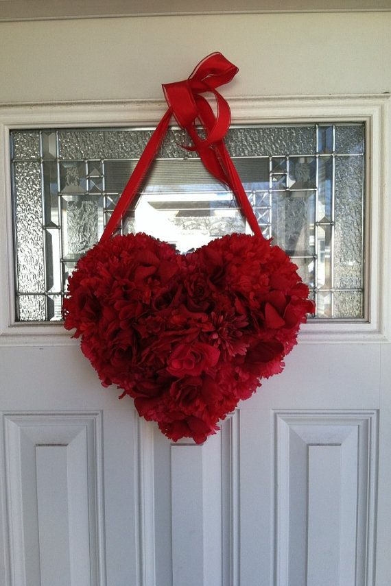 Valentines Day Heart Shaped Wreath Decoration For Front Door Or Entry Way Any Wall Red Medium On Etsy 45 00