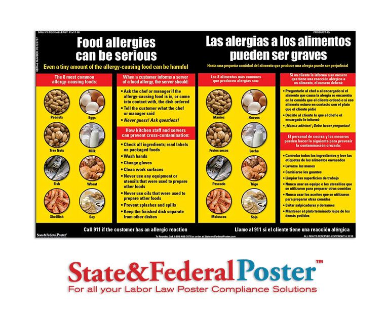 New York City Food Allergy Poster | State & Federal Labor