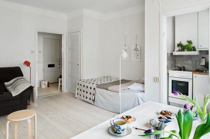 sol en bois clair meubles pour petit studio appartement